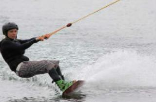 Man wakeboarding in the Pembrokeshire seas