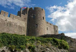 Pembroke Castle with beautiful blue skies