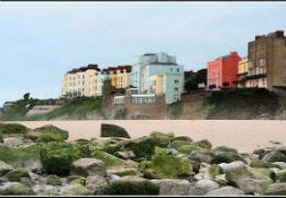 View of Tenby's famous coloured houses by the beach