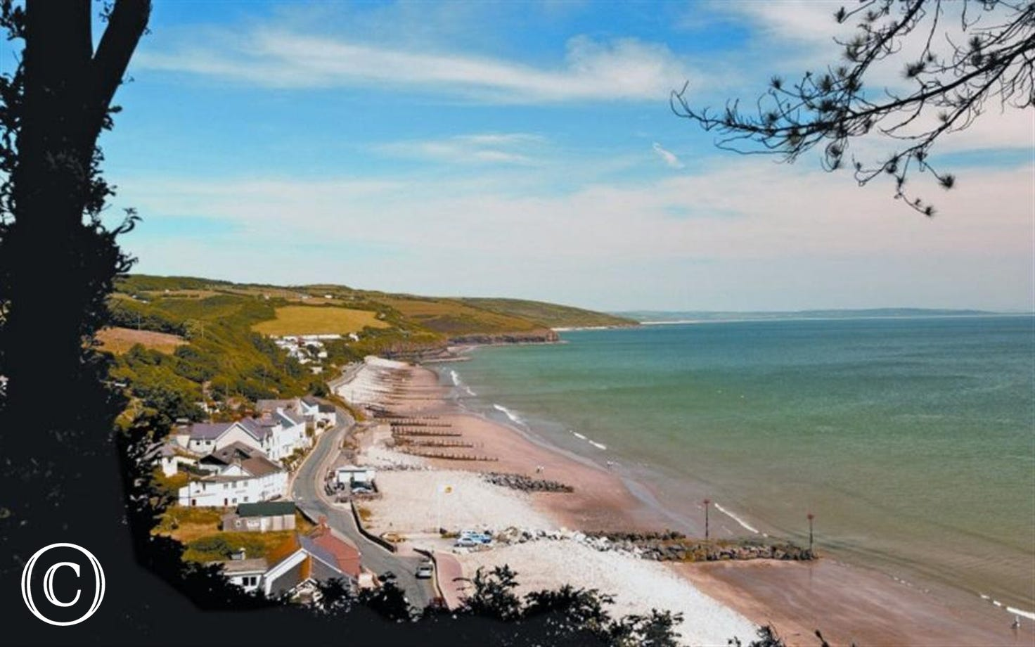 View of Amroth beach with shops, Inns and restaurants a short drive away