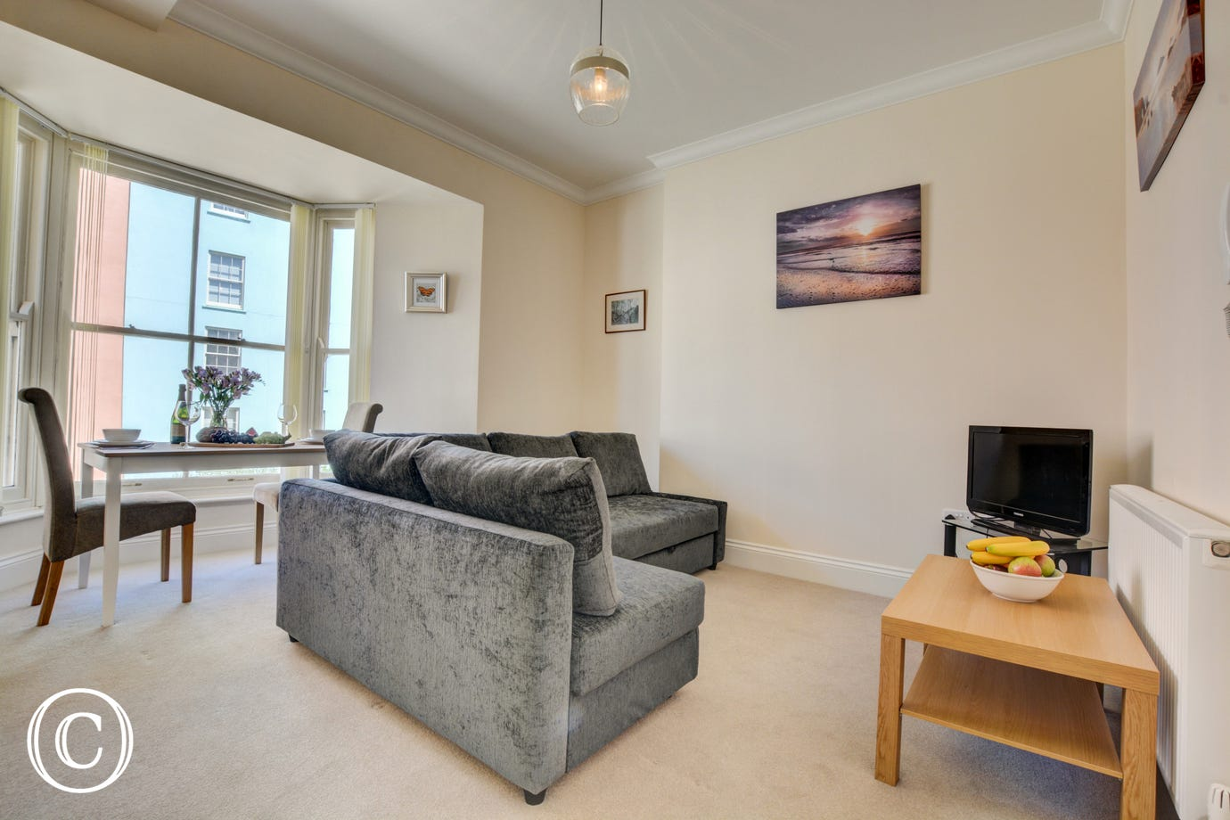 Ope plan living space at this Holiday Apartment in Tenby