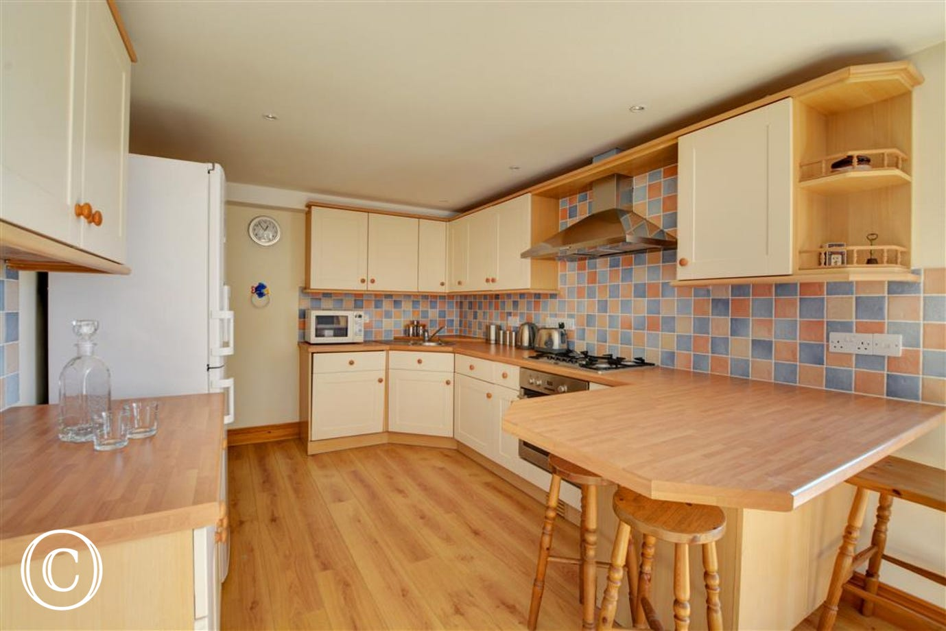 Open plan kitchen area all fully equipped to enjoy a self catering stay.