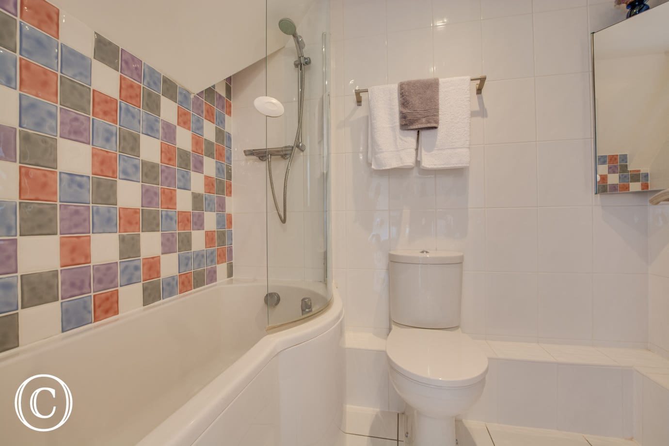 Ensuite bathroom with bath, overhead shower toilet and wash hand basin