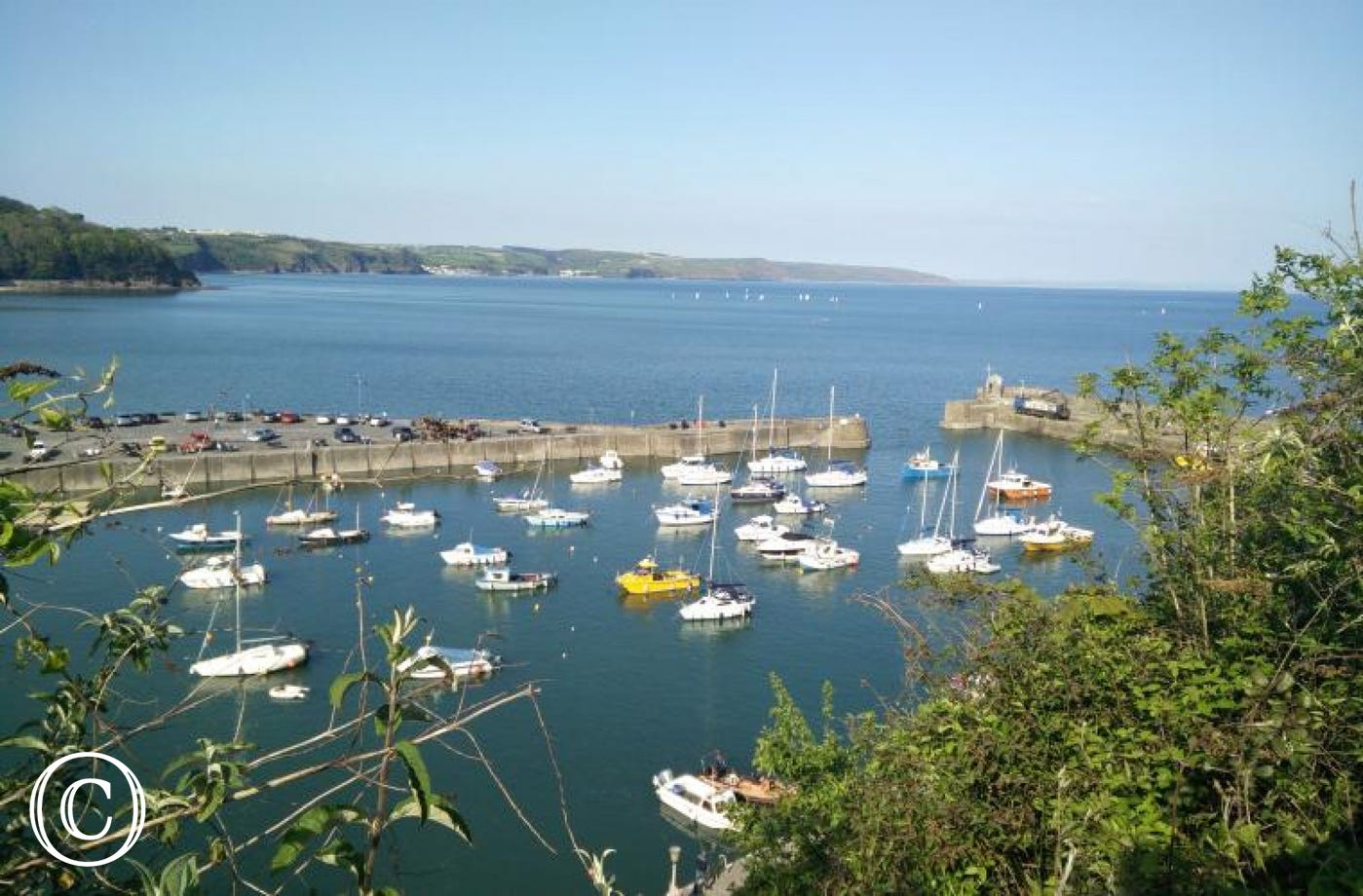 View of boats in Saundersfoot harbour