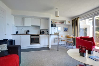 This self catering holiday apartment with compact kitchen area.