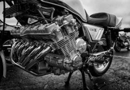 Black and White photograph of a motorbike