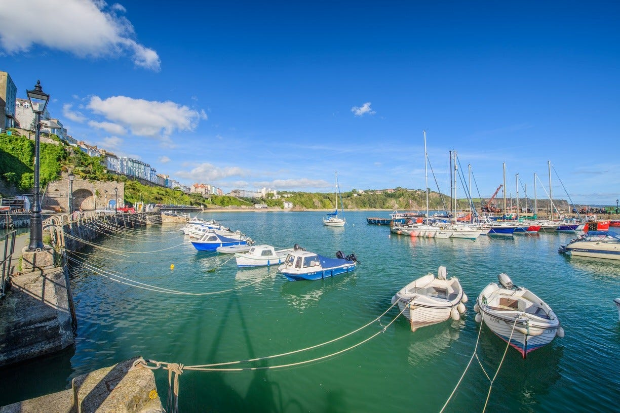 Boats in the beautiful Tenby Harbour